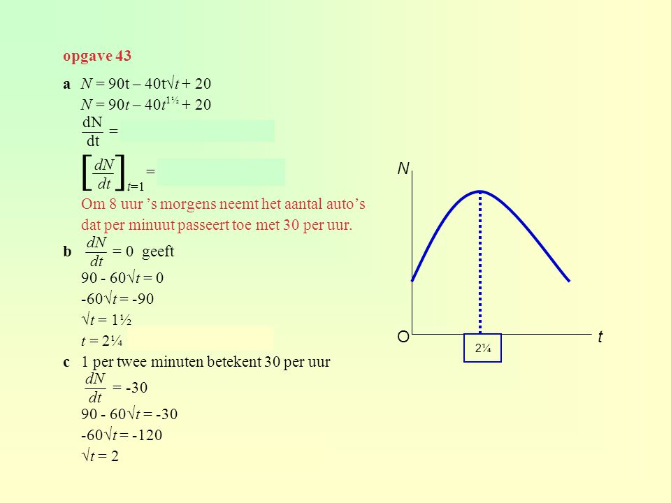 [ ] N O t opgave 43 a N = 90t – 40t√t + 20 N = 90t – 40t1½ + 20